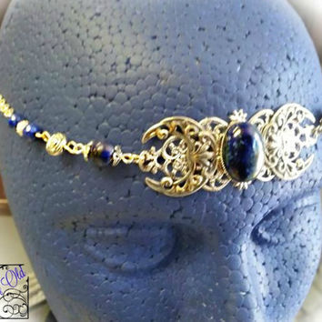 Lapis Triple Moon Circlet, Goddess Headdress, Lapis Lazuli Circlet