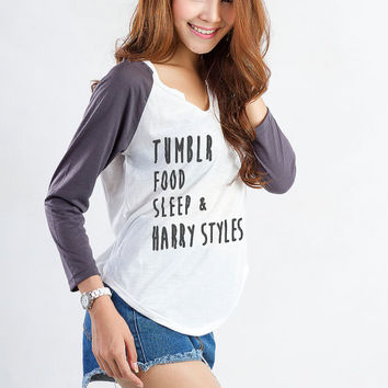 Tumblr Food Sleep Harry Styles TShirt White Teen Girl Fashion Funny Slogan Print Top Womens Sassy Cute Geek Swag Hype Instagram Blog Gifts