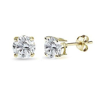 AUGUAU Yellow Gold Flashed Sterling Silver 6mm Round-Cut Solitaire Stud Earrings, Choice of 12 Colors