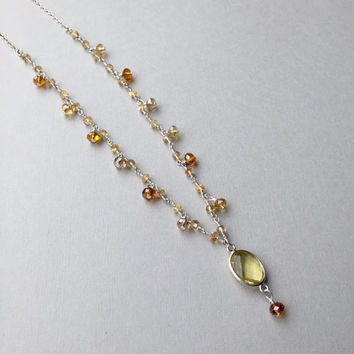 """Long Chain Citrine Necklace, Lemon Quartz Pendant, November Birthstone Gifts for Her, 30"""" Gemstone Layering Necklace, Autumn Fall Jewelry"""