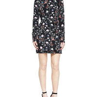 A.L.C. Charles Flower-Print Silk Dress, Black