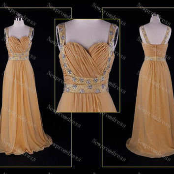 Custom Dress straps Brown chiffon with Beads and sequins dress evening dress for 2014 prom dress