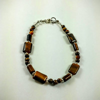 Gemstone bracelet, beaded bracelet, Tiger eye beads, tiger eye bracelet, unisex bracelet, beaded bracelet, gift, brown, silver beads