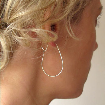 Teardrop Hoop Earrings - Sterling Silver Teard Drop Hoops - Modern Earrings - Everyday Earrings - Geometric Jewelry - Thin hoop earrings