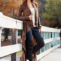 Brown Multi Cascading duster, jeans from VENUS