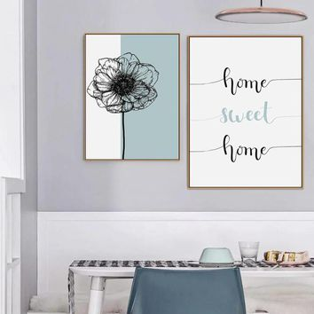 SURE LIFE Nordic Home Sweet Home Dandelion Poster Canvas Paintings  Wall Art Printings Pictures for Living Room Home Decorations