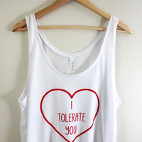 I Tolerate You Graphic White Flowy Crop Tank