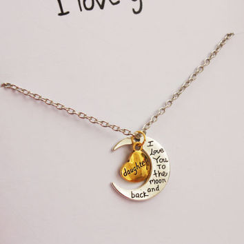 Love You Mom Woman Pendant Stone Necklace Love you to the moon and back gift