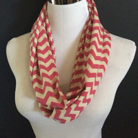 New Jersey Knit Deep Fushia & Taupe Infinity Chevron Fashion Scarf  Super Cute