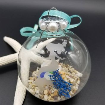 Mermaid Ornament, Beach Ornament, Beach Christmas Ornament, Seaglass Ornament, Beach Lovers Gift, Mermaid Gifts, Seashell Ornament