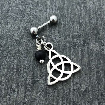 316L Surgical Stainless Solid Steel Celtic knot 18g, 16g, 14g Helix, cartilage, tragus earring