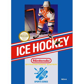 Retro Ice Hockey Game Poster//NES Game Poster//Video Game Poster//Vintage Game Cover Reprint