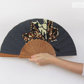 Left handed hand fan - African Kitenge leaf lefties gift - bellydance accessory costume