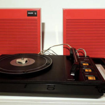 70s Space Age design Red PHILIPS STEREO 200 portable record player