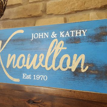Rustic Personalized Wood Monogram Sign-Family Knowlton style