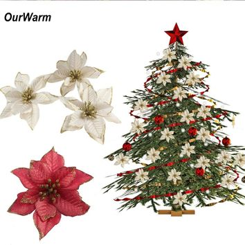 OurWarm 10PCS Artificial Flowers Christmas Decorations for Home Christmas Tree Ornaments Xmas Tree New Year Decor Navidad