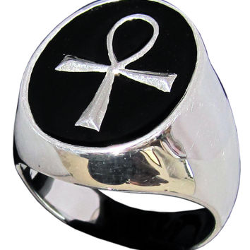 Egyptian Ankh Ring Symbol of Eternal Life in Sterling Silver 925