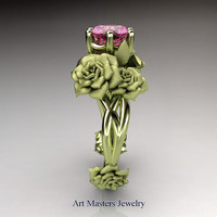 Nature Inspired 18K Green Gold 1.0 Ct Pink Sapphire Rose Petal Leaf Solitaire Ring R317S-18KGGPS