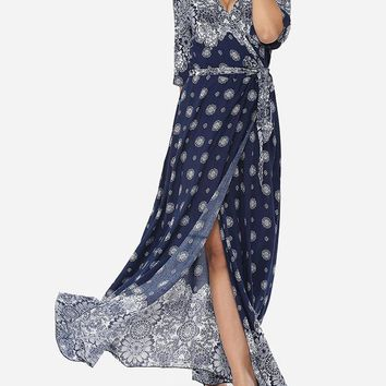 Casual Bohemian Printed Split Cross Straps Loose Fitting Charming V Neck Maxi-dress