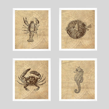 Nautical Prints, Nautical Decor, Vintage Nautical, Sealife Prints, Vintage Map, Home Wall Decor, 8x10 Prints, Set of 4 CUSTOMIZE YOUR COLORS