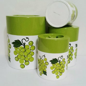 Canister set metal green grapes