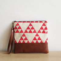Geometric Clutch Purse Wristlet Cosmetic bag Red Triangle Tribal Print,