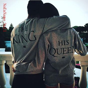 2017 King Queen Letter Print Long Sleeve T-Shirt Valentine Women Grey New Family Top Tee Couple Shirt Femme Loves O-Neck T shirt