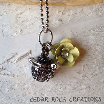 Message Box, Prayer Box Necklace With a Pale Yellow Rose Charm