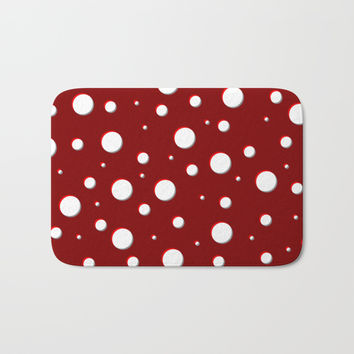 Red mushroom pattern, asymetric shadowed polka dots, mixed circles size, vintage themed, classic Bath Mat by Casemiro Arts - Peter Reiss