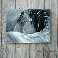 Black and White Horse Painting with Blue Accents  18x24