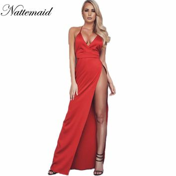 Women Silk Maxi Long Dress Red  Party Dresses