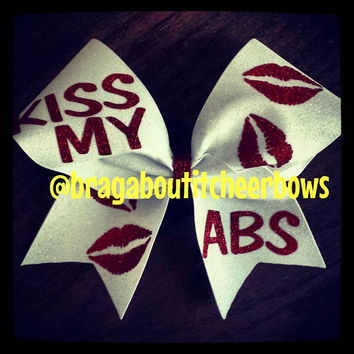 white and red glitter kiss my abs cheer bow
