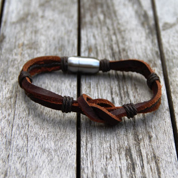 Fashionable Leather Square Knot Bracelet with Magnetic Clasp