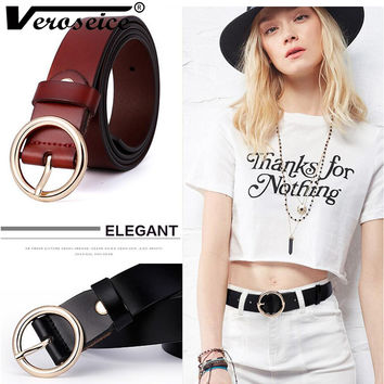 [Veroseice] Fashion Women Belts Cow Genuine Leather Strap Gold Round Buckle High Grade Grain Leather Feamle Belts for Women
