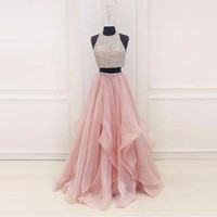 2 Pieces Party Gown Sequins Long Evening Dress 2017 Vestidos De Festa Beaded Evening Dresses Tulle Floor Length Pink Prom Gowns