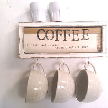 Framed White Art Coffee Shelf - Cup or Key Holder