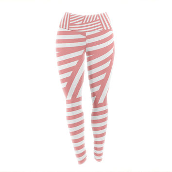 "Louise Machado ""Rose Stripes"" Pink White Yoga Leggings"
