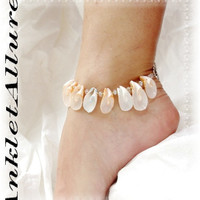 Beachy Feet Gypsy Shell Anklet Crystals Natural Curl Ankle Bracelet Strong