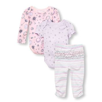 Baby Girls Space Sparkle Bodysuits and Striped Leggings 3-Piece Playwear Set
