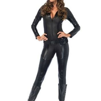 CREYI7E 3PC.Captivating Crime Fighter,quilted catsuit,utility belt,mask in BLACK