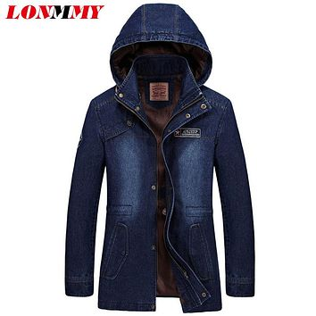 LONMMY M-3XL Jeans jacket men Hoodies Denim jacket men Cotton Military style Long Army Brand-clothing 2017 Mens coats hooded