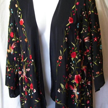 Black, Genuine Silk Jacket, Cascading Waterfall, Draped  Rainbow, Silk Embroidery, Aris A,  Vogue Jacket, Resort Cruise, Evening