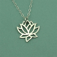 Small Lotus Flower Necklace - sterling silver yoga jewelry - lotus charm necklace - gift