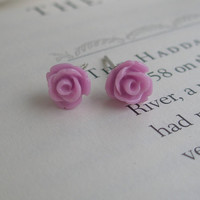Tiny rose earrings- Rose earrings- Purple roses- Purple earrings- Purple- Orchid- Fashion- Feminine