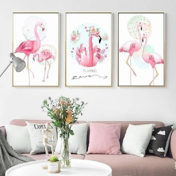 SURE LIFE Pink Flamingo Animals Flower Love Poster Canvas Printings Wall Art Paintings Pictures for Bedroom Home Decorations