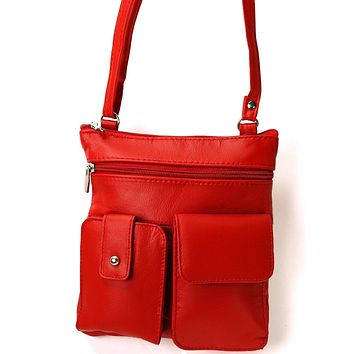 Soft Leather Two Front Purse Red Color Cross-body Style