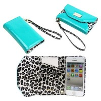 JAVOedge Leopard Wallet Cell Phone Case for iPhone5 - Turquoise (WALL-00006-C13)
