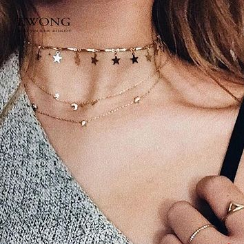 Dainty Gold Color Chain Tiny Star Choker Necklace for Women Bijou Necklaces Pendants Simple Boho Layering Chokers Chockers