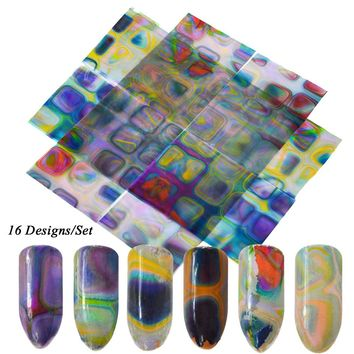 16 Designs New Maze Sequin Sticker for Nails Foils Nail Art Transfer Polish Decals Mixed Set DIY Charm Manicure Tips CH490