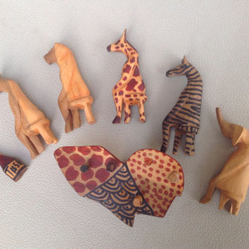 African Hand Carved Wooden Safari Animals With Table and Glasses